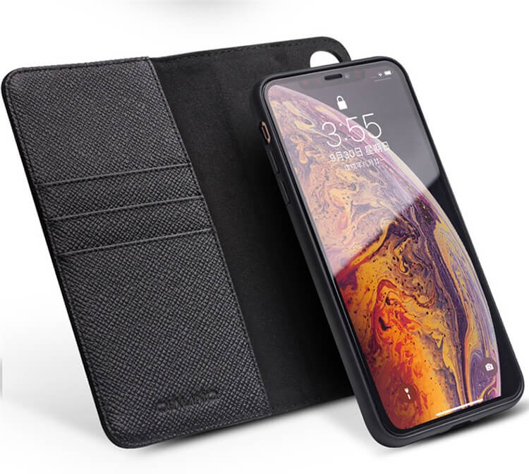 Husa multifunctionala 2 in 1 din piele naturala, tip carte + back cover, stand, iPhone XS Max - Qialino, Negru