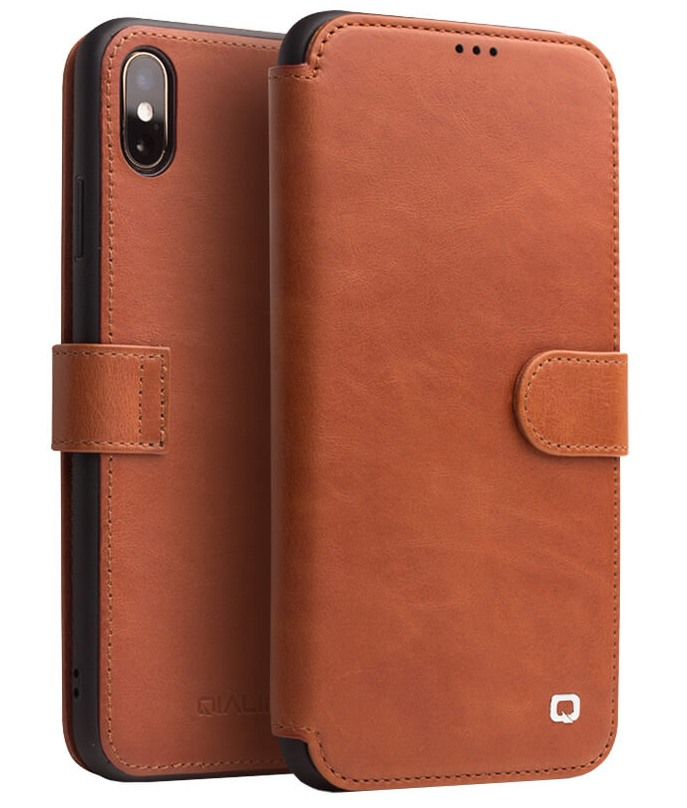 Husa piele naturala tip portofel, inchidere magnetica, protectie 360, iPhone XS Max - Qialino, Maro tabac