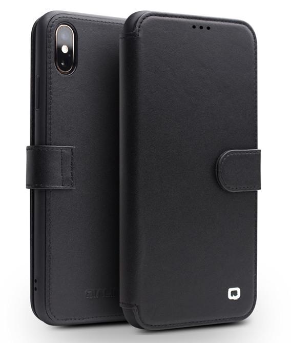 Husa piele naturala tip portofel, inchidere magnetica, protectie 360, iPhone XS Max - Qialino, Negru
