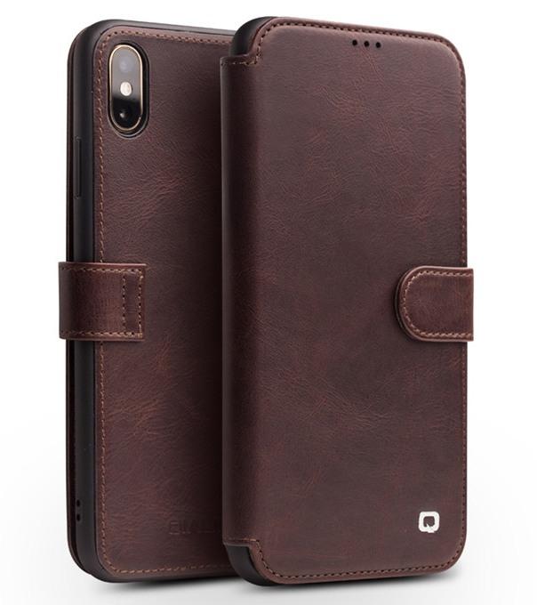 Husa piele naturala tip portofel, inchidere magnetica, protectie 360, iPhone X / XS - Qialino, Maro coffee