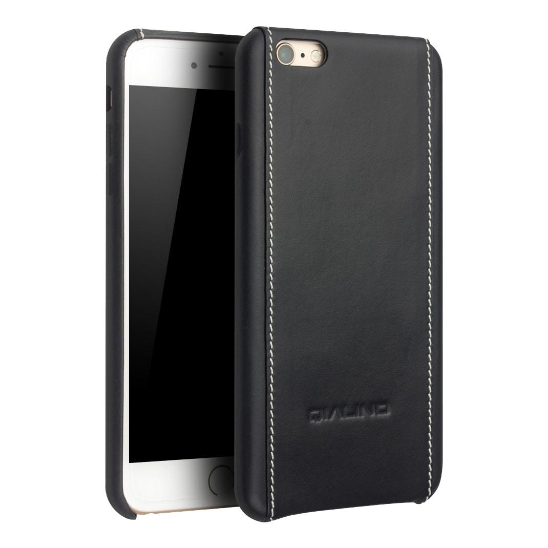 Husa slim din piele naturala, cusatura alba contrast, back cover, iPhone 6 Plus - Qialino, Negru