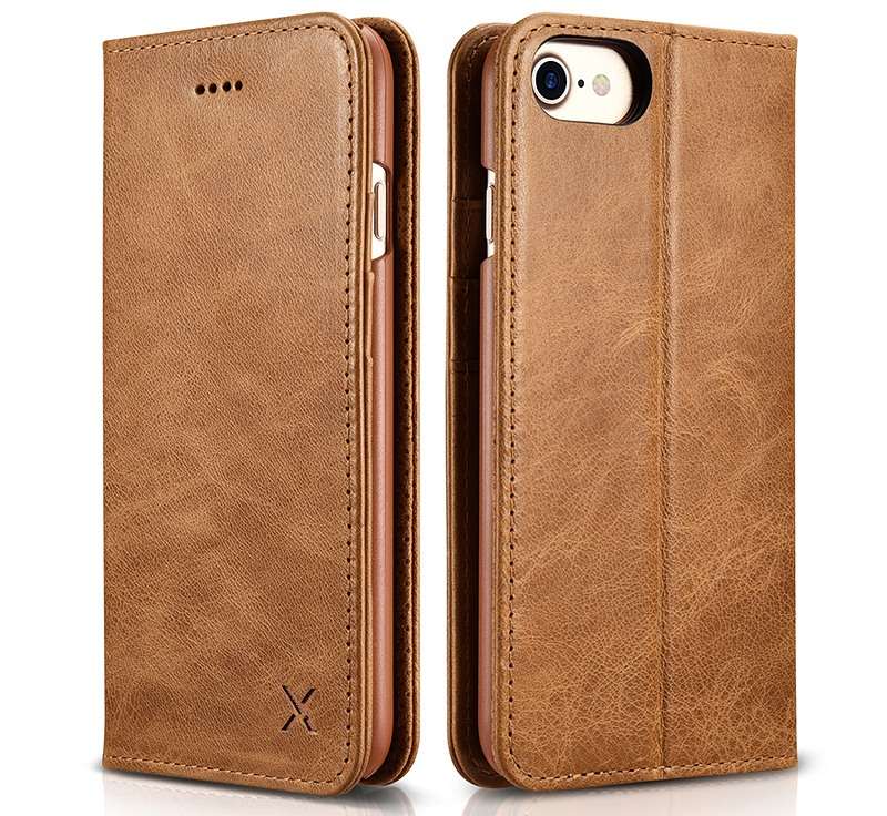 Husa din piele, inchidere magnetica, tip carte, iPhone SE 2 (2020) / iPhone 8 / iPhone 7 - Xoomz by iCarer Wallet, Maro