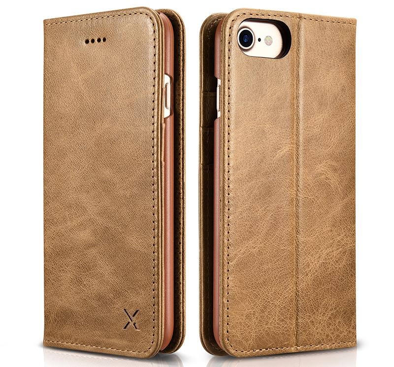 Husa din piele, inchidere magnetica, tip carte, iPhone SE 2 (2020) / iPhone 8 / iPhone 7 / iPhone 6 / 6s - Xoomz by iCarer Wallet, Maro deschis
