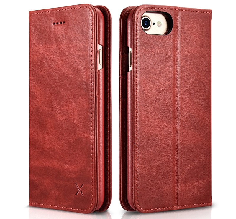 Husa din piele, inchidere magnetica, tip carte, iPhone 8 / iPhone 7 / iPhone 6 / 6s - Xoomz by iCarer Wallet, Rosu burgund