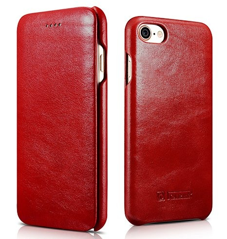 Husa din piele, tip carte, iPhone SE 2 (2020) / iPhone 8 / iPhone 7 / iPhone 6 / 6s - iCarer Vintage Curved Series, Rosu burgund