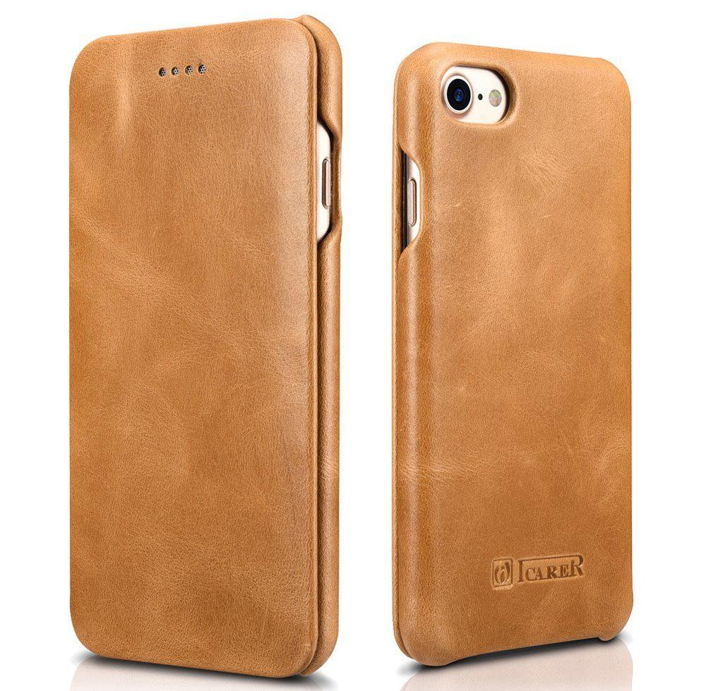 Husa din piele naturala, tip carte, iPhone 8 / iPhone 7 / iPhone 6 / 6s - iCarer Vintage Curved Series, Camel