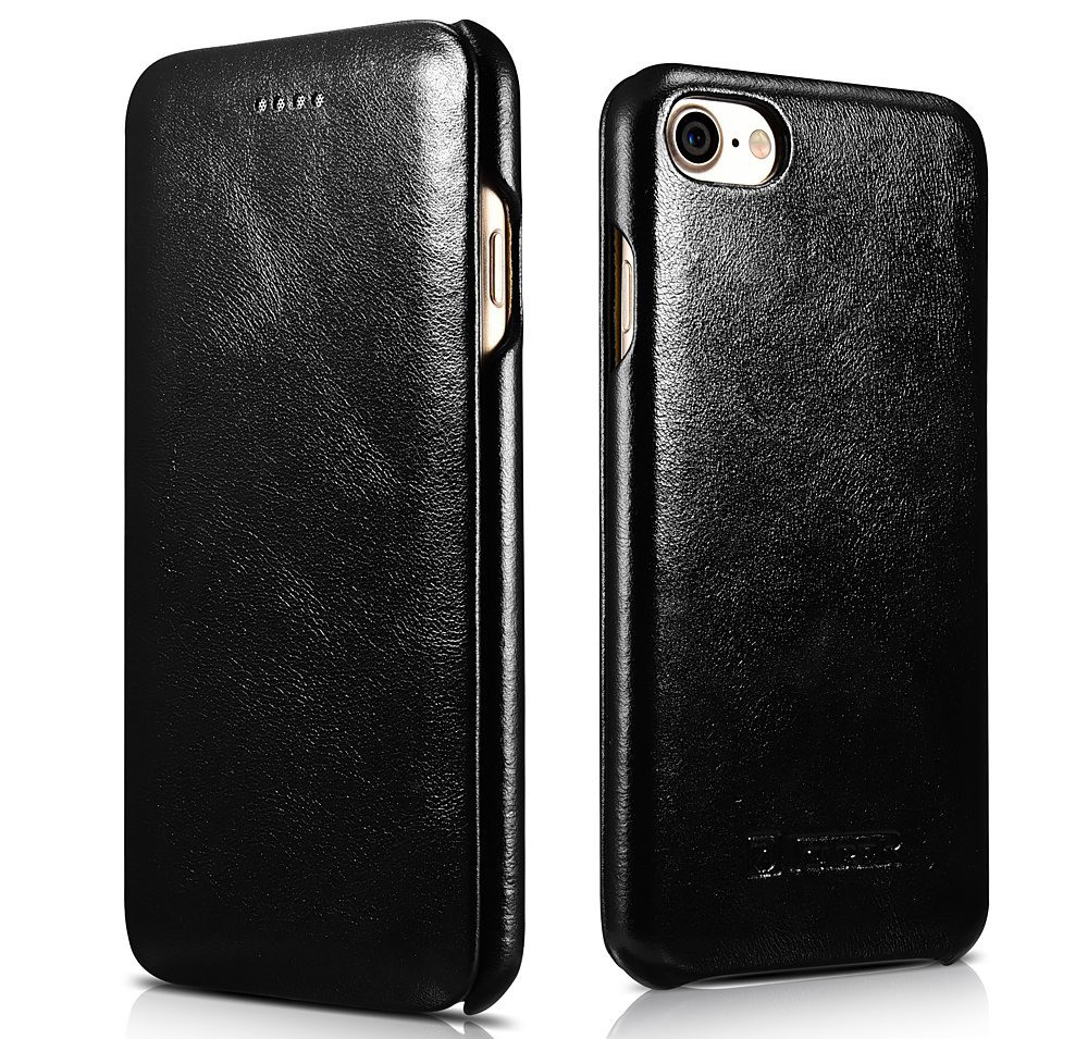 Husa din piele, tip carte, iPhone SE 2 (2020) / iPhone 8 / iPhone 7 - iCarer Vintage Curved Series, Negru
