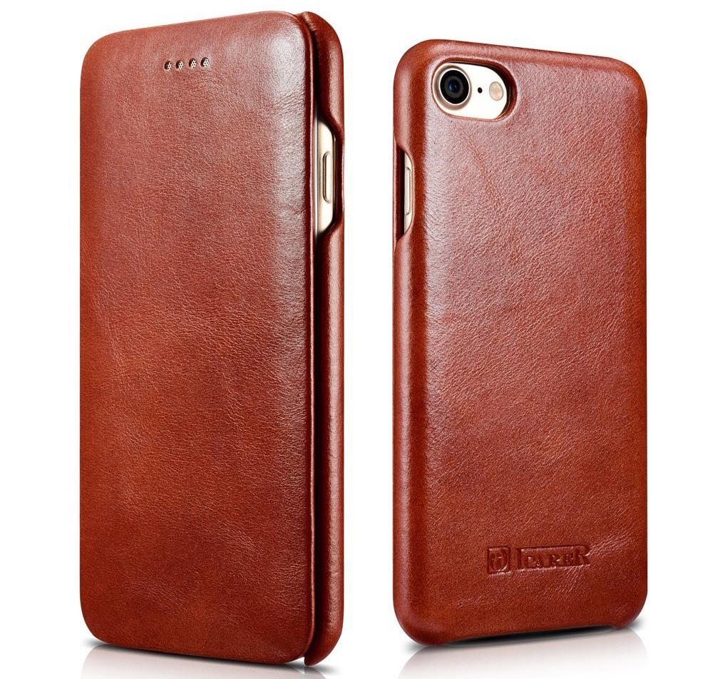 Husa din piele, tip carte, iPhone SE 2 (2020) / iPhone 8 / iPhone 7 - iCarer Vintage Curved Series, Maro coniac