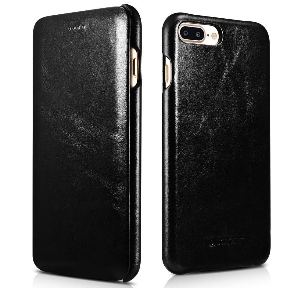 Husa piele naturala, tip carte cu clapeta curbata, iPhone 8 Plus / 7 Plus - iCarer Vintage Curved, Negru