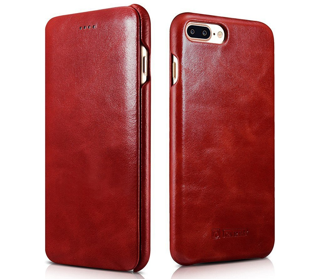 Husa piele naturala, tip carte cu clapeta curbata, iPhone 8 Plus / 7 Plus - iCarer Vintage Curved, Rosu burgund