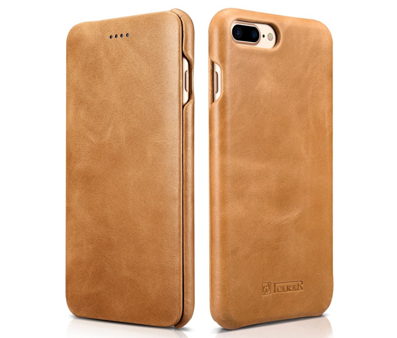 Husa piele naturala, tip carte cu clapeta curbata, iPhone 8 Plus / 7 Plus - iCarer Vintage Curved, Camel