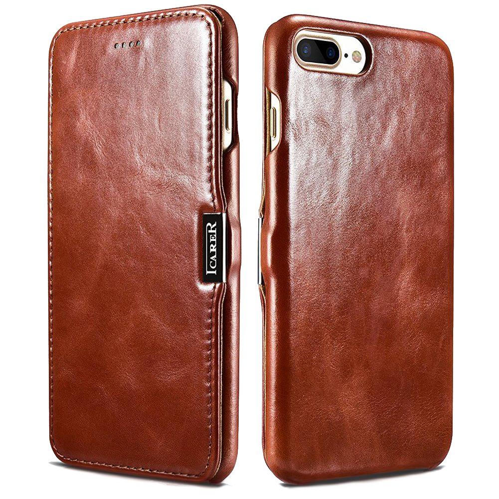 Husa din piele naturala, tip carte, inchidere magnetica, iPhone 8 Plus / 7 Plus - iCARER Vintage, Maro coniac