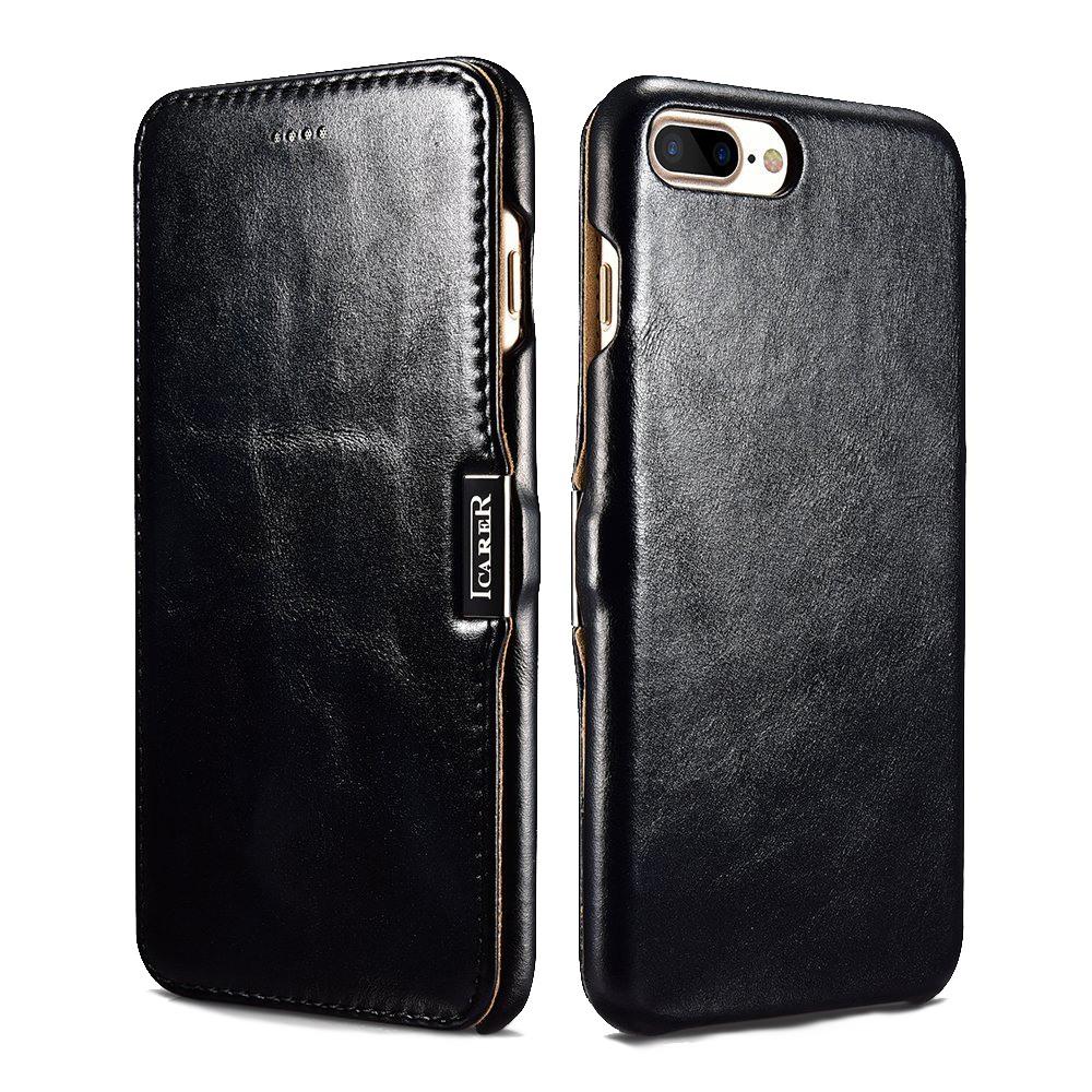 Husa din piele naturala, tip carte, inchidere magnetica, iPhone 8 Plus / 7 Plus - iCARER Vintage, Negru