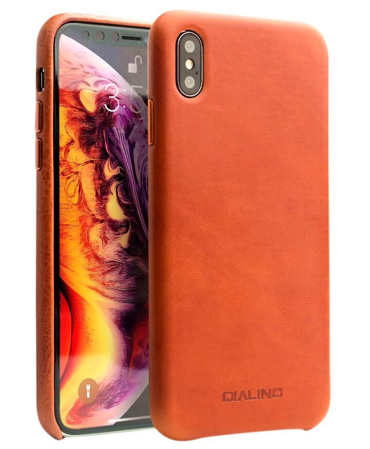 Husa slim din piele de vitel, tip back cover, iPhone XS Max - Qialino Classic, Maro tabac