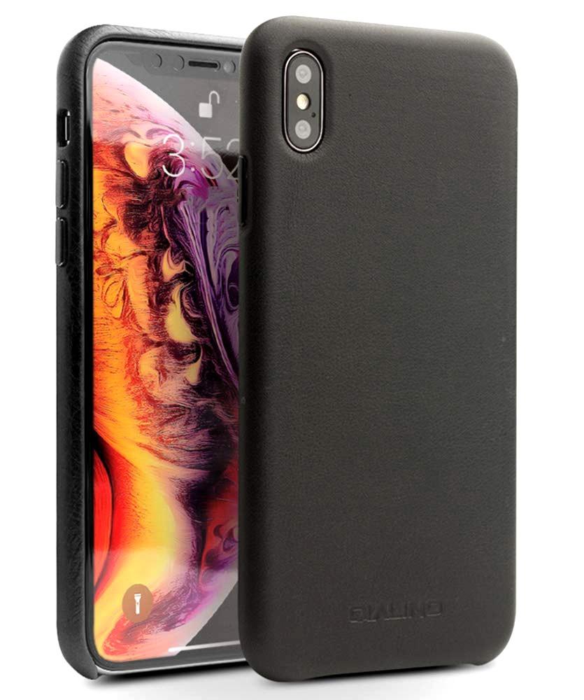 Husa slim din piele de vitel, tip back cover, iPhone XS Max - Qialino Classic, Negru