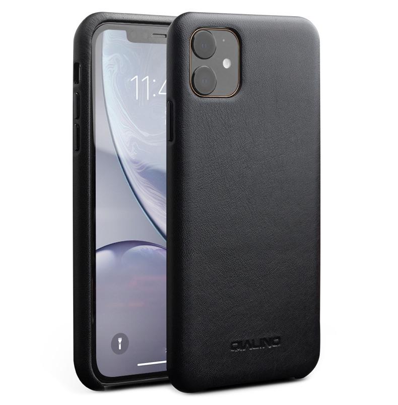 Husa slim din piele de vitel, tip back cover, iPhone 11 - Qialino Classic, Negru