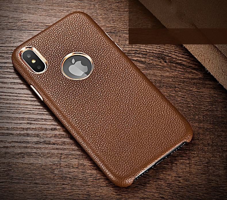 Husa din piele naturala, tip back cover, iPhone XS Max - Xoomz by iCarer Litchi, Maro