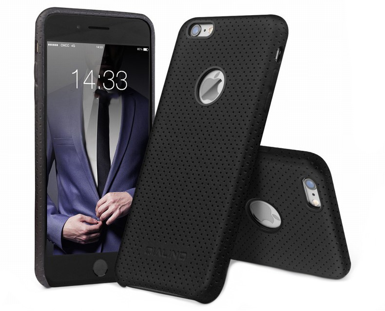 Husa din piele naturala perforata, tip back cover, iPhone 6 Plus / 6s Plus - Qialino Limousine, Negru