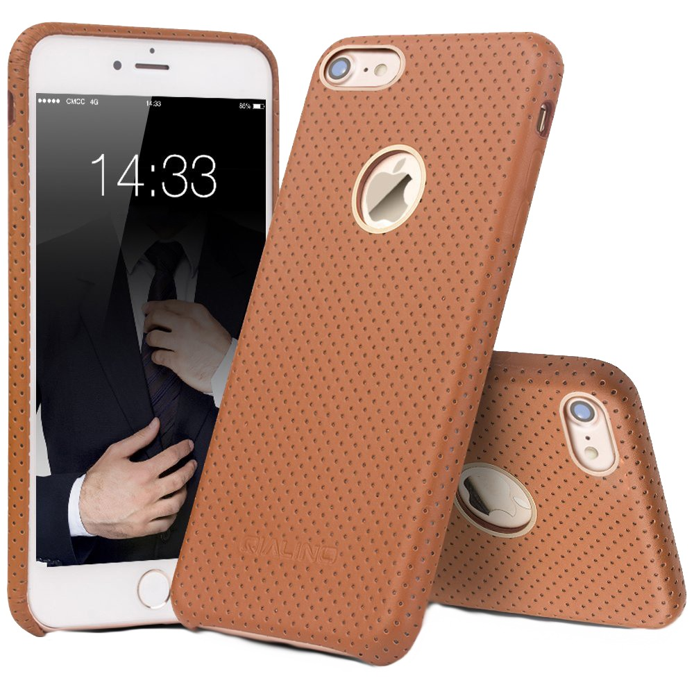 Husa piele naturala perforata, tip back cover, iPhone 7 - Qialino Limousine, Maro tabac