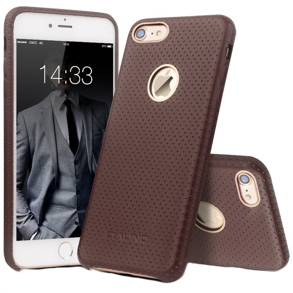 Husa piele naturala perforata, tip back cover, iPhone 7 - Qialino Limousine, Maro coffee