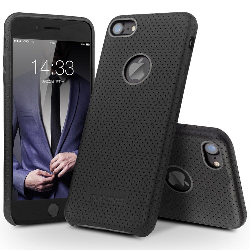 Husa piele naturala perforata, tip back cover, iPhone 7 - Qialino Limousine, Negru