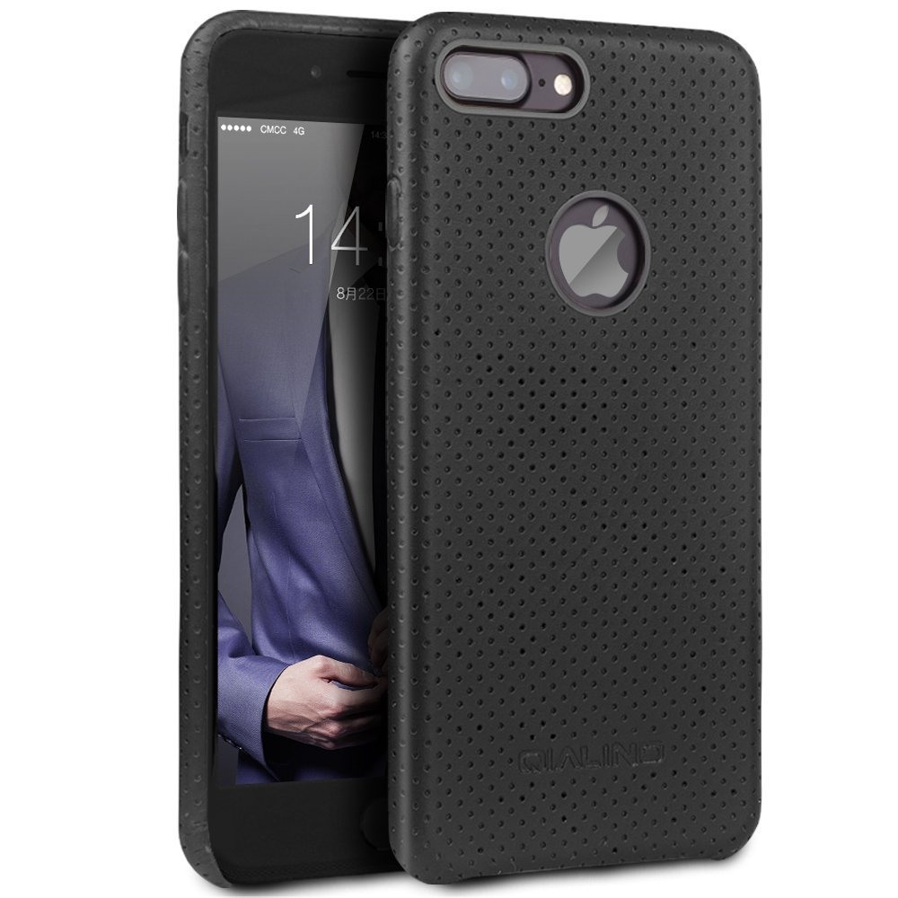Husa din piele naturala perforata, back cover, dedicata iPhone 8 Plus - Qialino Limousine, Negru