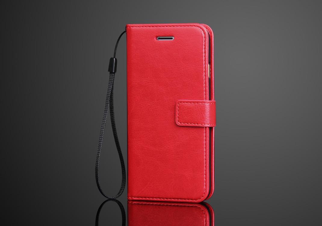 Husa cu protectie superioara din piele fina, iPhone 8 / iPhone 7, tip portofel, Rosu