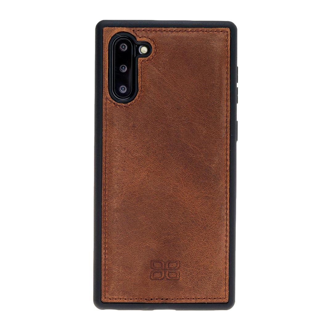 Husa slim piele naturala + rama TPU moale, back cover, Samsung Galaxy Note 10 - Bouletta, Antique brown