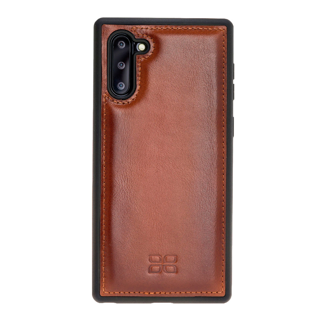 Husa slim piele naturala + rama TPU moale, back cover, Samsung Galaxy Note 10 - Bouletta, Burnished tan
