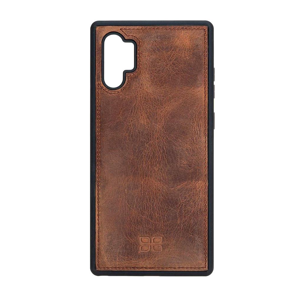 Husa slim piele naturala + rama TPU moale, back cover, Samsung Galaxy Note 10 Plus - Bouletta, Antique brown