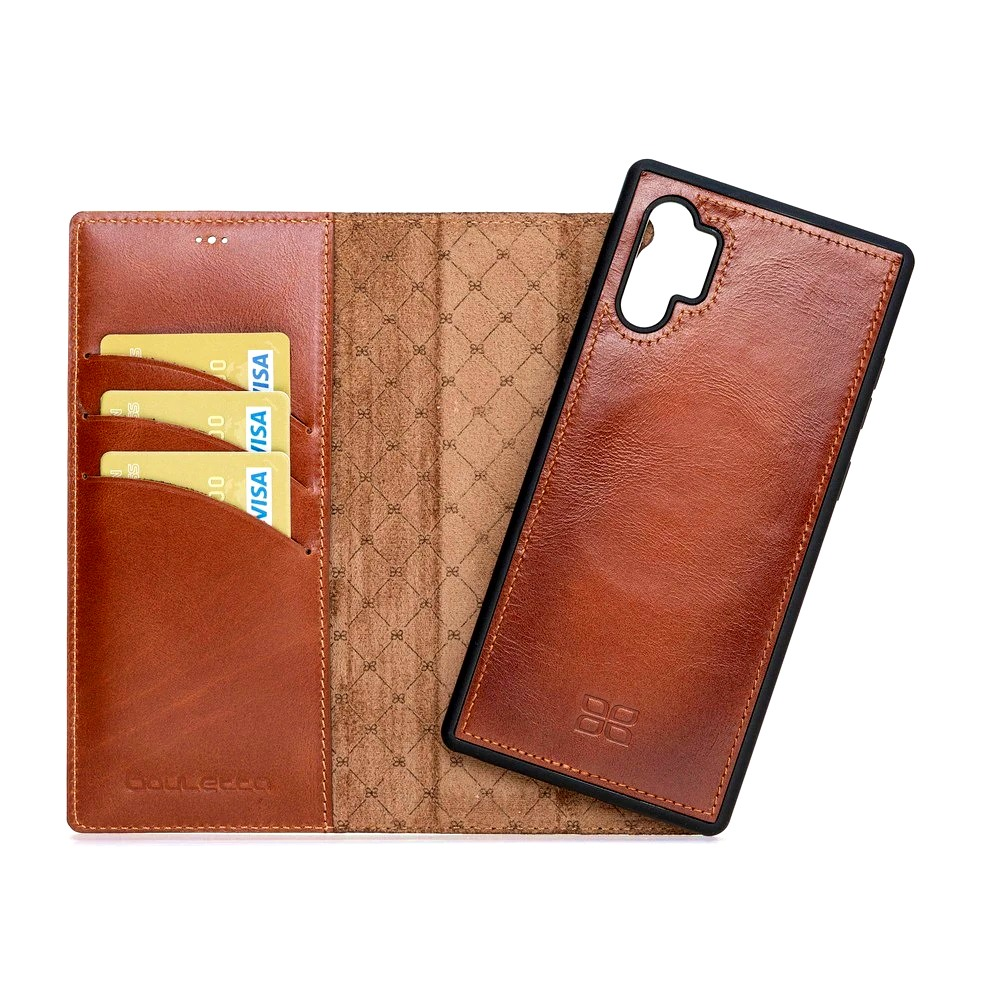 Husa piele naturala 2in1, portofel + back cover, Samsung Galaxy Note 10 Plus - Bouletta Magic Wallet, Burnished tan