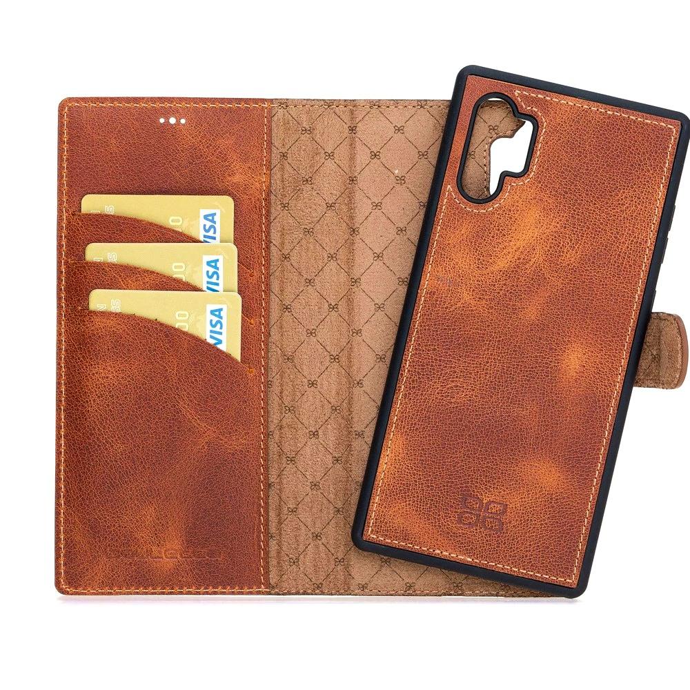 Husa piele naturala 2in1, portofel + back cover, Samsung Galaxy Note 10 Plus - Bouletta Magic Wallet, Tiana tan
