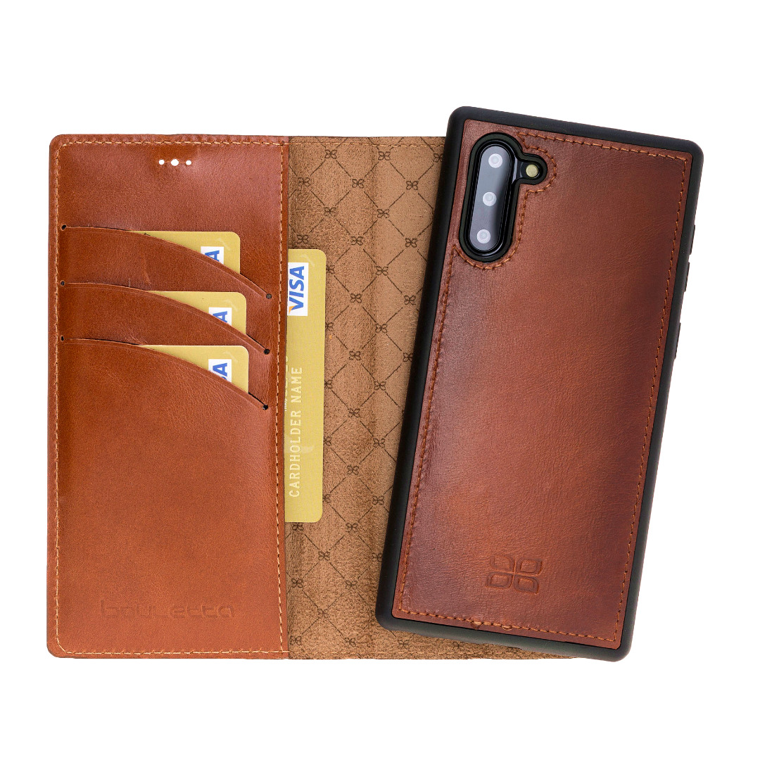 Husa piele naturala 2in1, portofel + back cover, Samsung Galaxy Note 10 - Bouletta Magic Wallet, Burnished tan