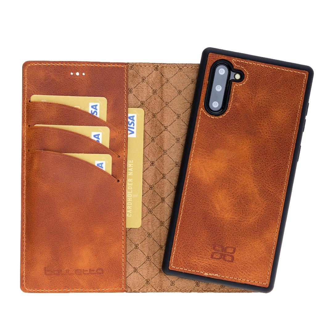 Husa piele naturala 2in1, portofel + back cover, Samsung Galaxy Note 10 - Bouletta Magic Wallet, Tiana tan