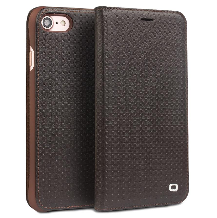 Husa slim din piele naturala, tip carte, iPhone SE 2 (2020) / iPhone 8 / iPhone 7 / iPhone 6 / 6s - Qialino Grid Leather, Maro coffee