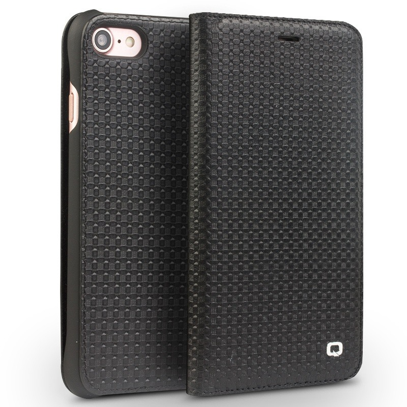 Husa slim din piele naturala, tip carte, iPhone SE 2 (2020) / iPhone 8 / iPhone 7 / iPhone 6 / 6s - Qialino Grid Leather, Negru