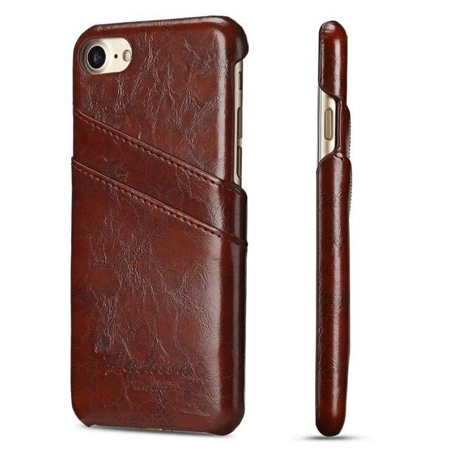 Husa slim piele fina cu textura vintage, tip back cover, iPhone SE 2 (2020), iPhone 8, iPhone 7 - CaseMe, Maro coniac
