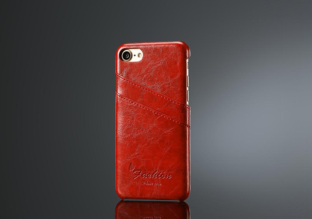 Husa slim piele fina cu textura vintage, tip back cover, iPhone SE 2 (2020), iPhone 8, iPhone 7 - CaseMe, Rosu
