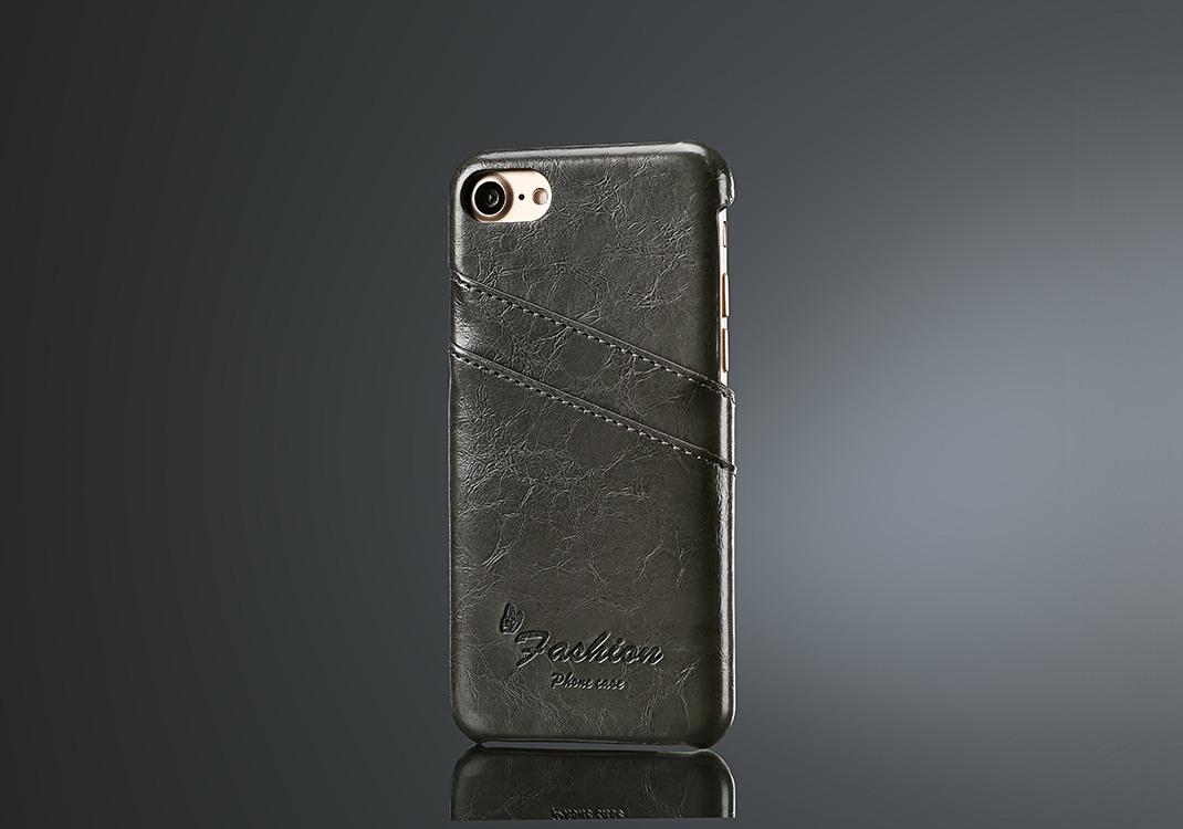 Husa slim piele fina cu textura vintage, tip back cover, iPhone SE 2 (2020), iPhone 8, iPhone 7 - CaseMe, Gri