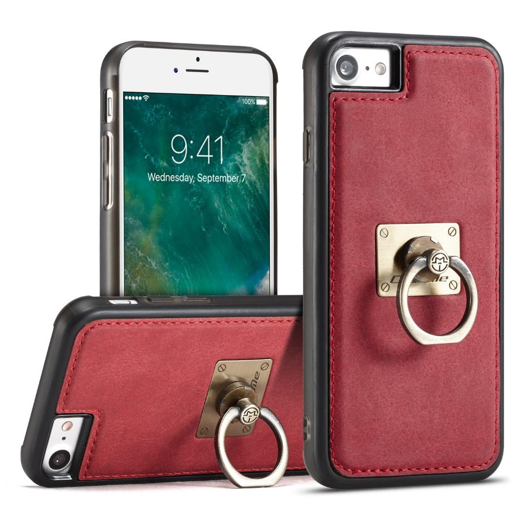 Husa slim piele, cu inel detasabil, back cover, iPhone SE 2 (2020), iPhone 8, iPhone 7 - CaseME, Rosu