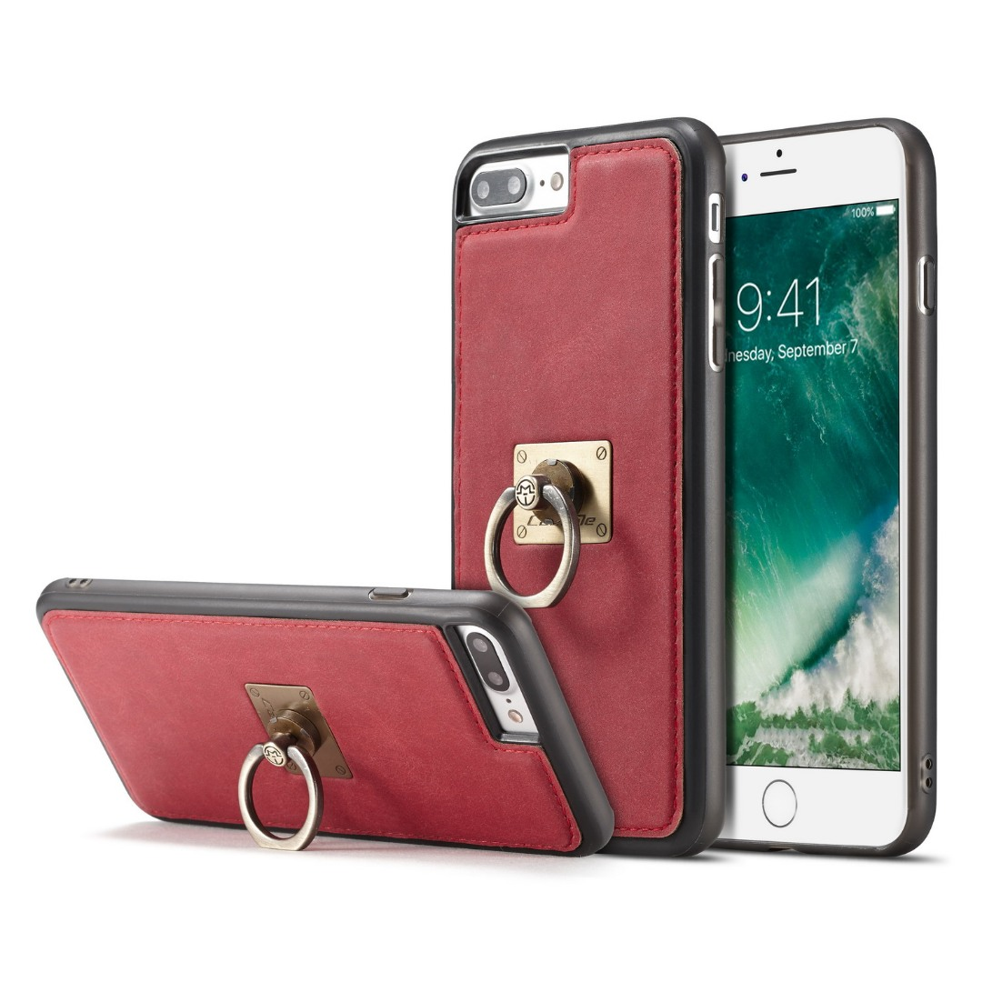 Husa slim piele, cu inel detasabil, back cover, iPhone 8 Plus / 7 Plus - CaseME, Rosu