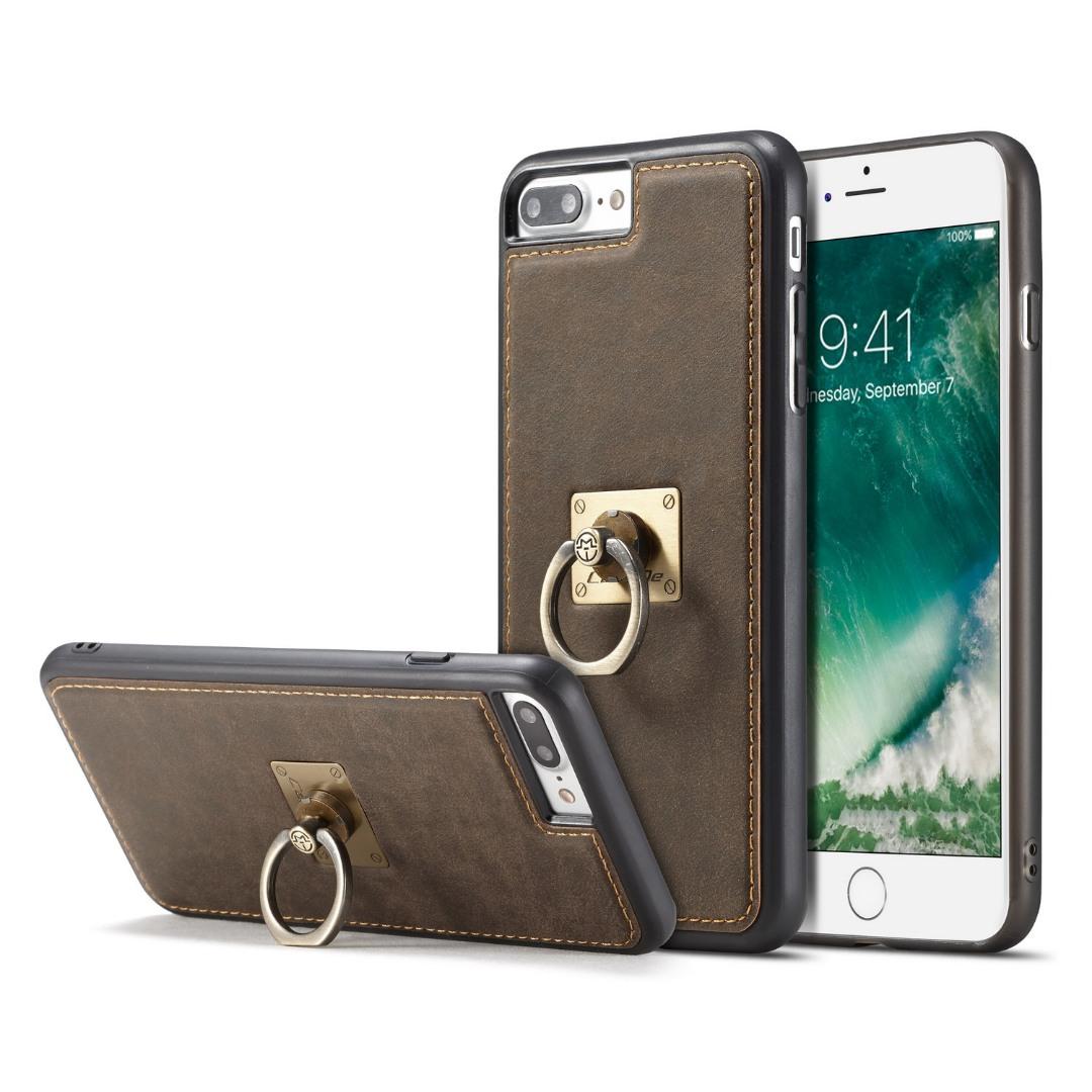Husa slim piele, cu inel detasabil, back cover, iPhone 8 Plus / 7 Plus - CaseME, Maro coffee