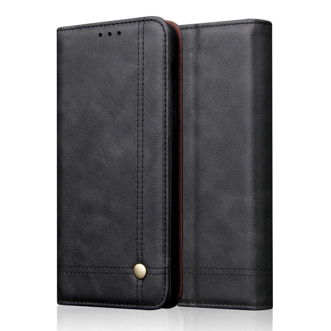 Husa piele, tip portofel, cusaturi ornamentale, stand, inchidere magnetica, iPhone 11 - CaseMe, Negru