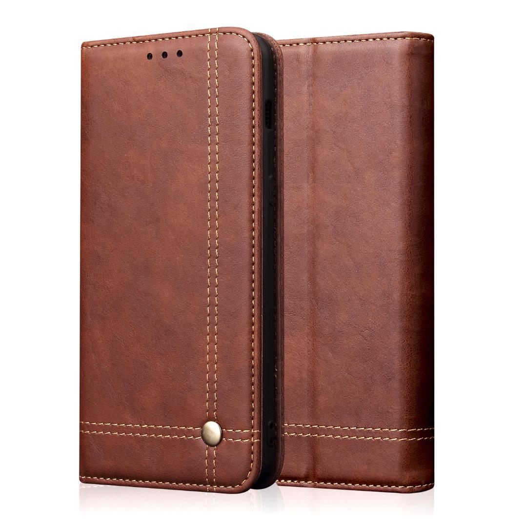 Husa piele, tip portofel, cusaturi ornamentale, stand, inchidere magnetica, iPhone 11 - CaseMe, Maro coffee