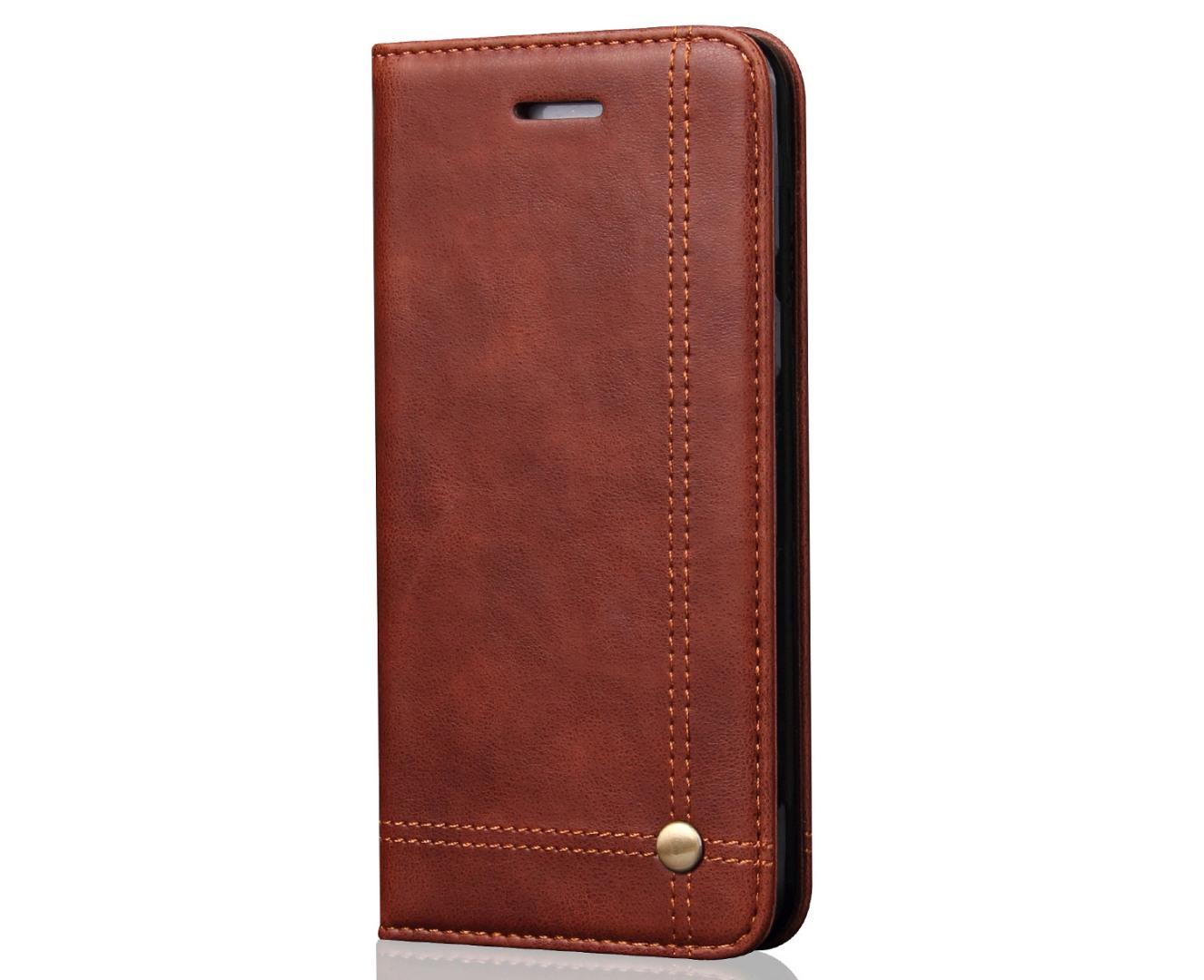 Husa piele, tip portofel, cusaturi ornamentale, stand, inchidere magnetica, iPhone SE (1st gen. 2016), iPhone 5 / 5S - CaseMe, Maro coffee