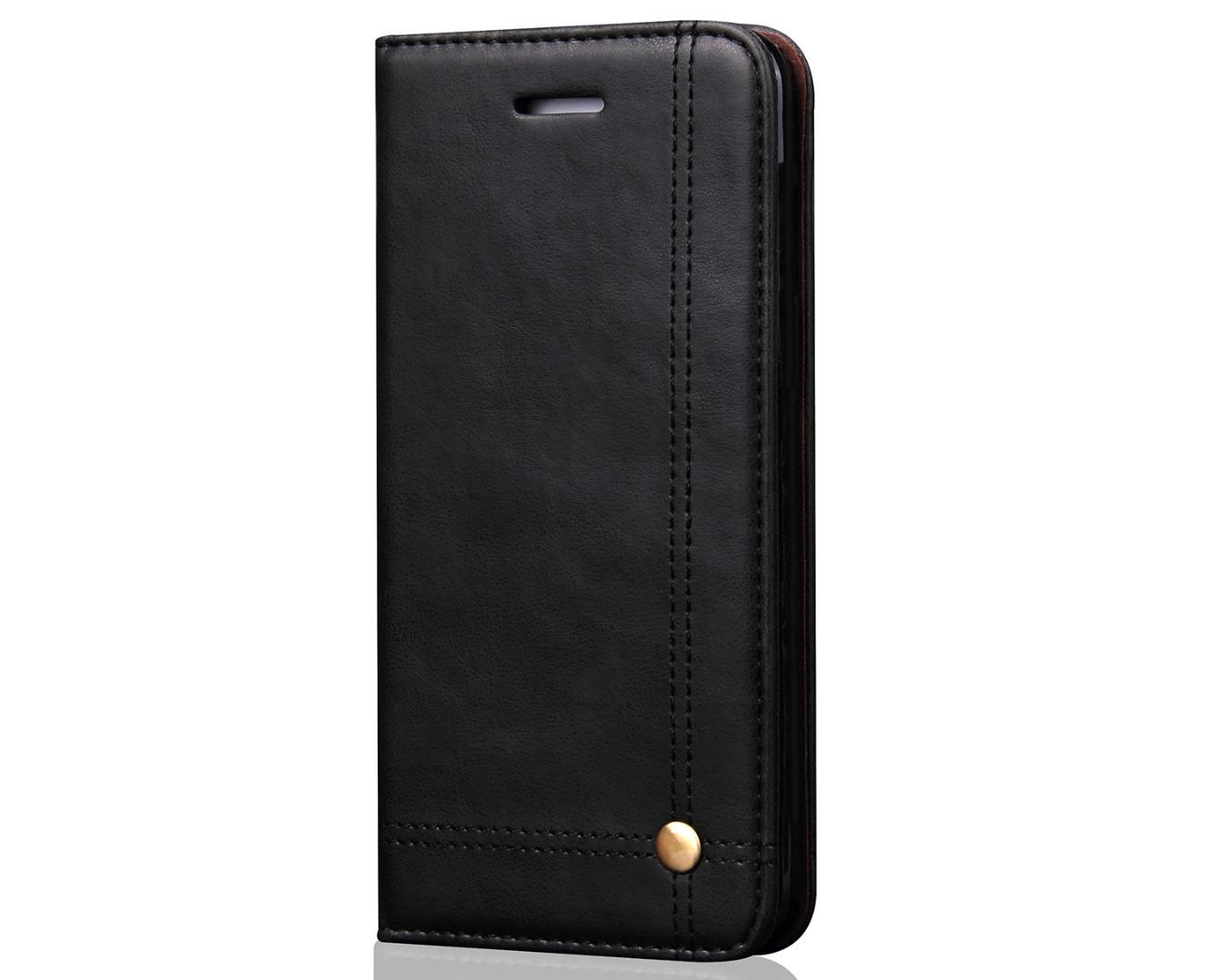 Husa piele, tip portofel, cusaturi ornamentale, stand, inchidere magnetica, iPhone SE (1st gen. 2016), iPhone 5 / 5S - CaseMe, Negru