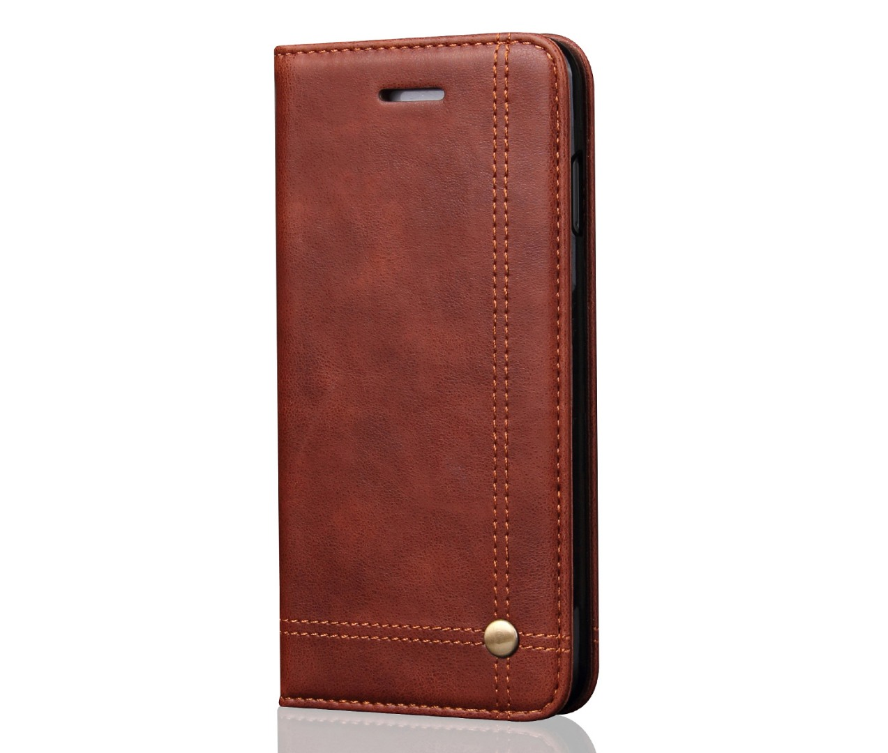 Husa piele, tip portofel, cusaturi ornamentale, stand, inchidere magnetica, iPhone 6 / 6s - CaseMe, Maro coffee