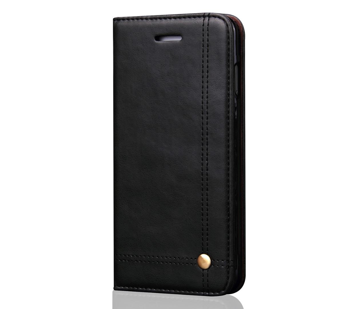 Husa piele, tip portofel, cusaturi ornamentale, stand, inchidere magnetica, iPhone 6 / 6s - CaseMe, Negru