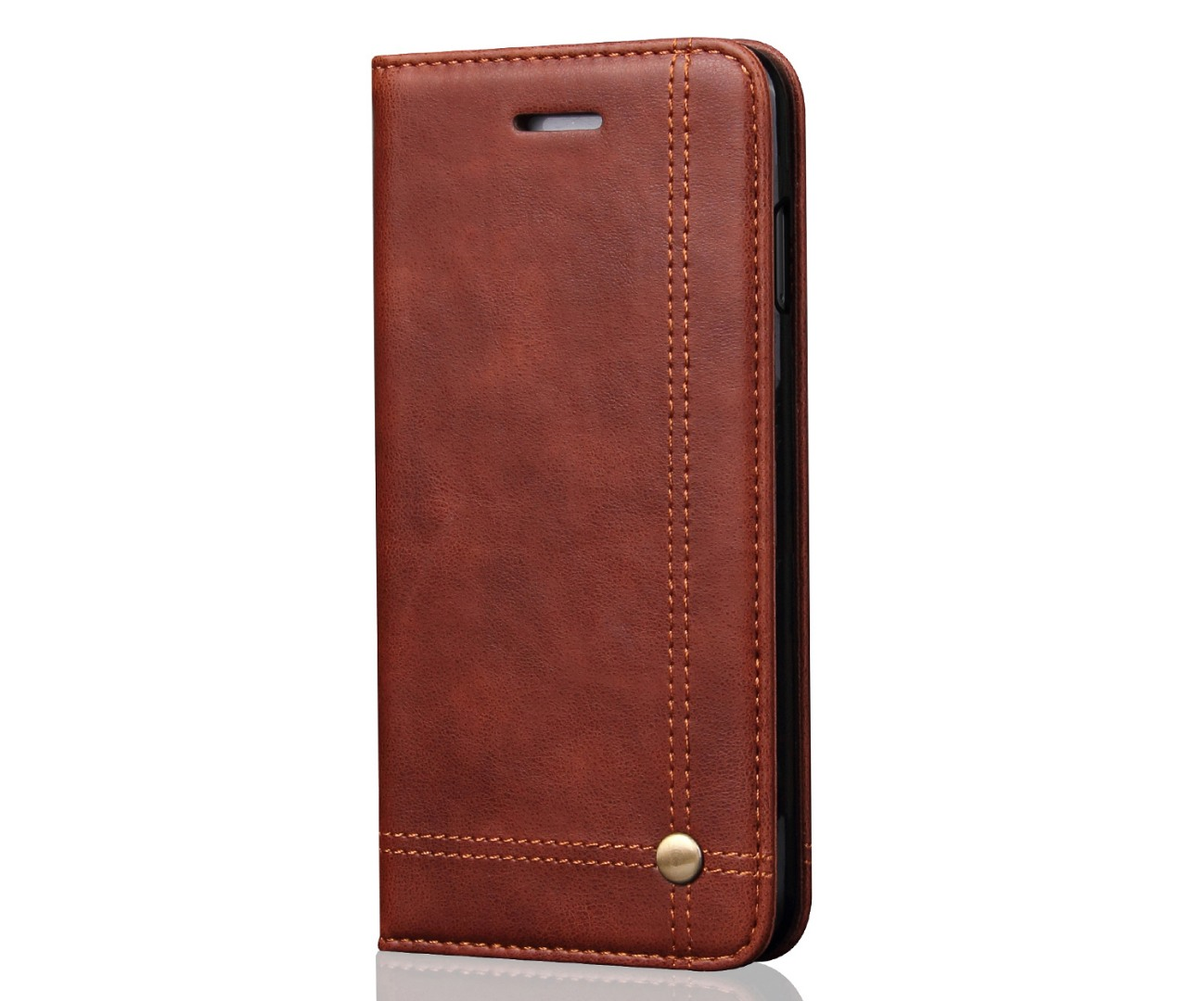 Husa piele, tip portofel, cusaturi ornamentale, stand, inchidere magnetica, iPhone 8 Plus / 7 Plus - CaseMe, Maro coffee