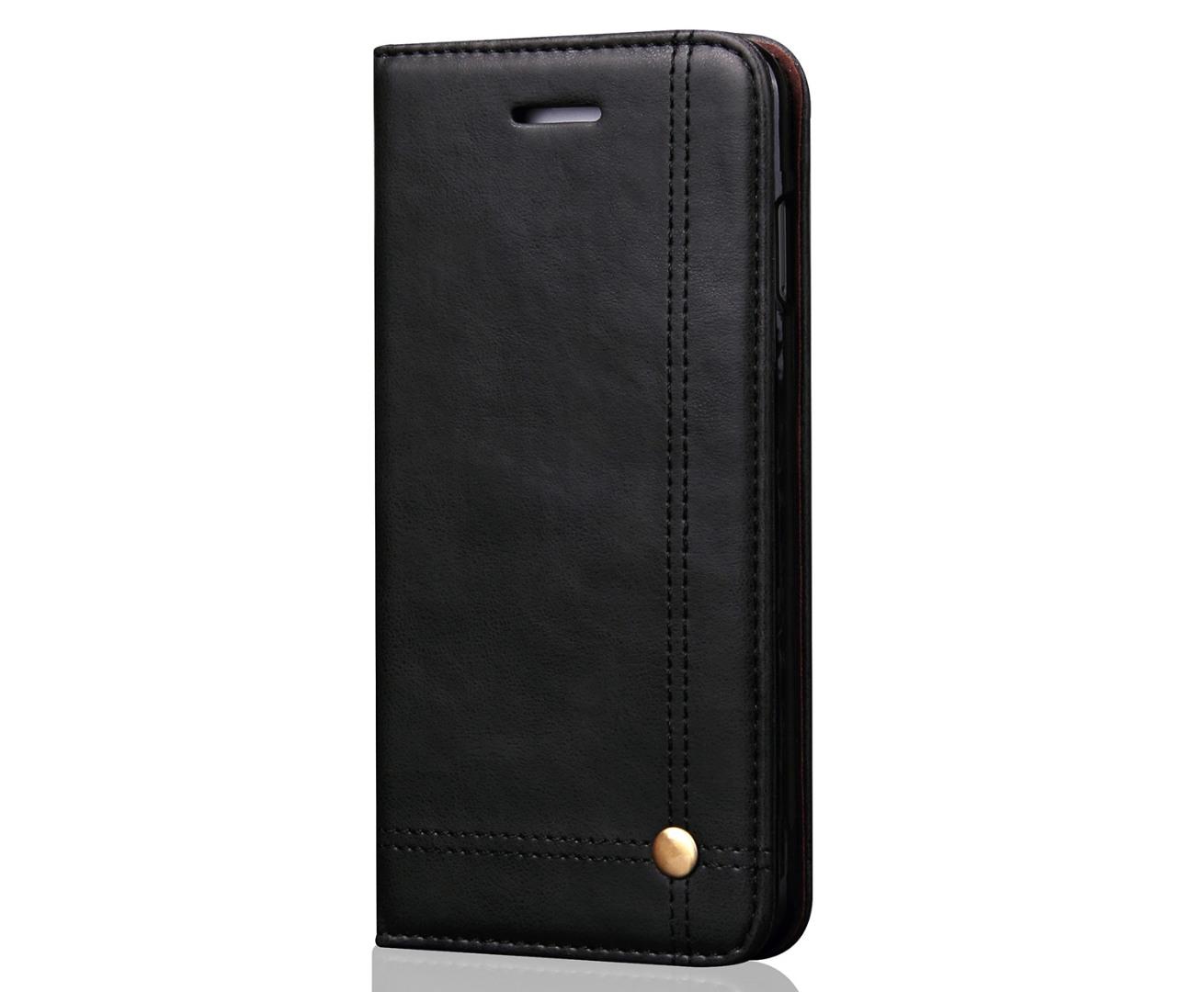 Husa piele, tip portofel, cusaturi ornamentale, stand, inchidere magnetica, iPhone 8 Plus / 7 Plus - CaseMe, Negru